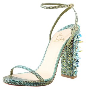 Christian Louboutin Au Palace Crystal Spiked Sandal Python Green Pumps