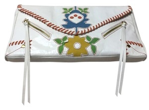Blue Loop Boho Leather Applique White, Multi Clutch