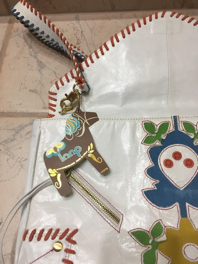 Blue Loop Boho Leather Applique White, Multi Clutch Image 1