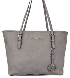 Michael Kors Leather Silver Hardware Tote in Grey