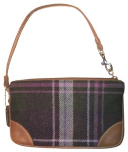 Coach Plaid Wristlet in Brown And Purple