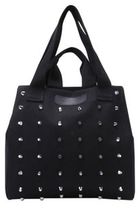 Romwe Heavy Canvas Short & Long Straps Tote in Black