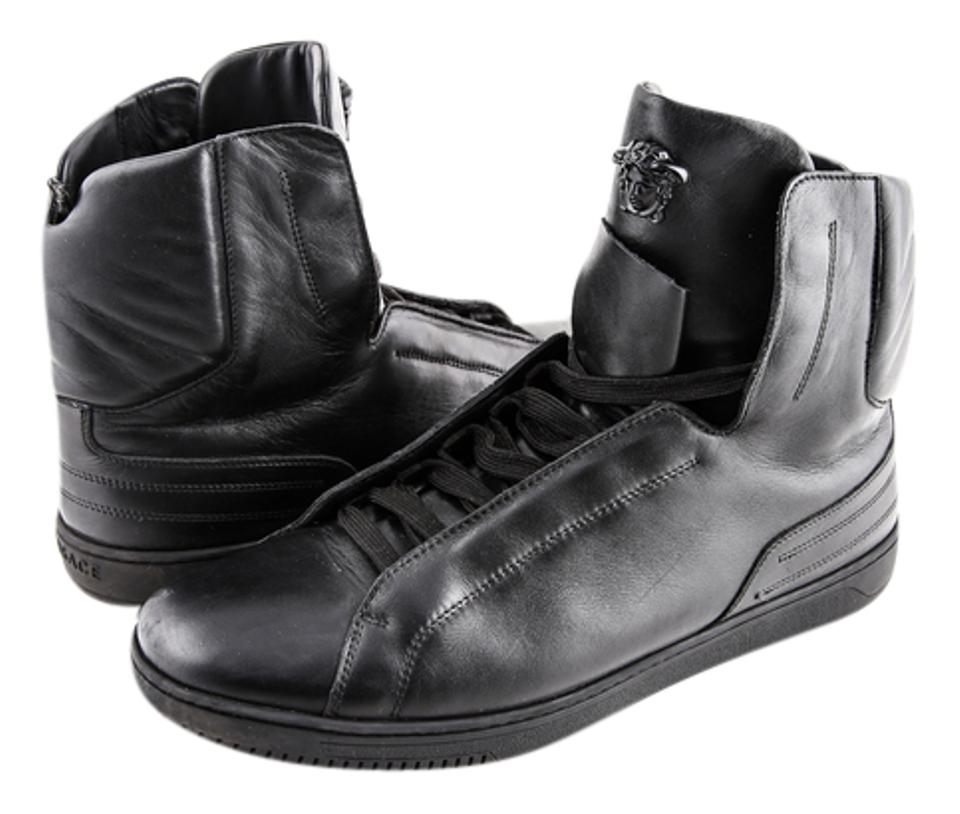 c230642ee85 Versace Black Leather High-top Sneakers Boots/Booties Size US 11 ...