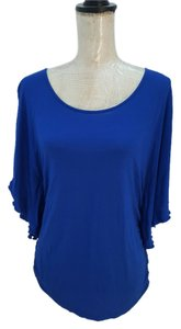 New York & Company Flutter Sleeve Top blue