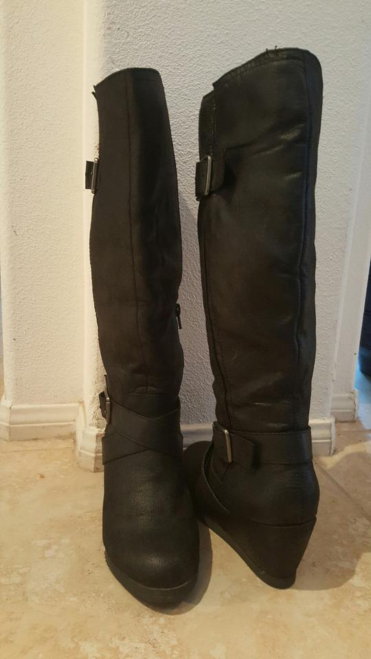 976076244242 Mossimo Supply Co. Black Wedge Boots Booties Size US 7.5 Regular (M ...