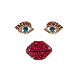 Betsey Johnson Betsey Johnson Goldtone Pave Lips Stretch Ring & Eye Stud Earring Set