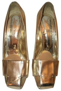 Saint Laurent Gold Metallic Ysl Yves Gold Wedge Wedges