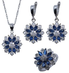 Macy's Daisy flower earring ring and necklace set sterling silver
