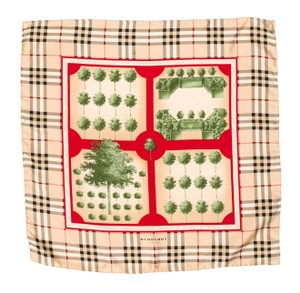Burberry Black, beige, red Burberry Nova check plaid tree print silk scarf
