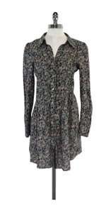 Zadig & Voltaire short dress Long Sleeve Teal Taupe Floral on Tradesy
