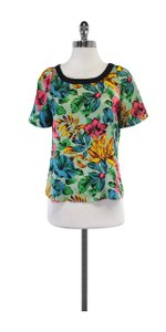 Marc by Marc Jacobs Floral Print Silk Short Sleeve Top