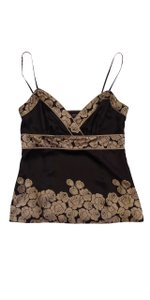 Ted Baker Brown Floral Silk Spaghetti Strap Top