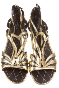 Louis Vuitton Metallic Gold Hardware Gladiator Lv Ankle Strap Gold, Black Sandals