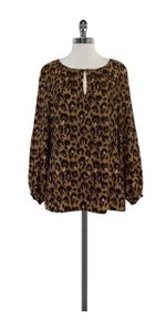 Tory Burch Brown Black Leopard Print Silk Top