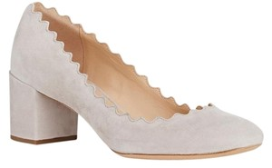 Chloé Lauren Scalloped Chloe Scalloped Grey Scalloped Suede Scalloped Size 37 Elephant Grey Pumps