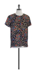 Hugo Boss Black Multi Color Geo Print Silk Top