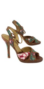 Valentino Tan Pink Green Floral Embroidered Heels Sandals