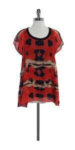 Diane von Furstenberg Red & Black Patterned Silk Top