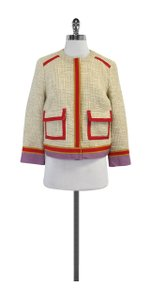 Tory Burch Cream Tweed With Red & Trims Jacket