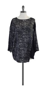 Lafayette 148 New York Navy & White Ink Print Silk Top