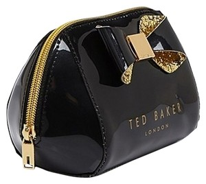 Ted Baker Ted Baker Trapeze Glitter Bow SMALL Black MAKE UP BAG / Cosmetic Case