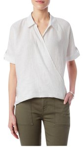7 For All Mankind Linen Wrap Crossfront Top white