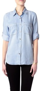 7 For All Mankind Denim Shirt Denim Shirt Button Down Shirt Blue