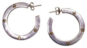 gorgeous flat silver hoops with post backs. silver from Mexico. needs a good polish and will be as good as new!