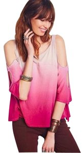 Free People Tee Ombre 3/4 Sleeve Pink T Shirt