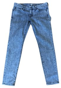 7 For All Mankind Acid Wash Skinny Vintage Distressed Hipster Skinny Jeans-Acid