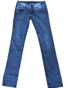 True Religion Skinny Distressed Hipster Straight Leg Jeans-Distressed