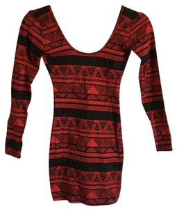 American Apparel short dress red Batik Printed on Tradesy