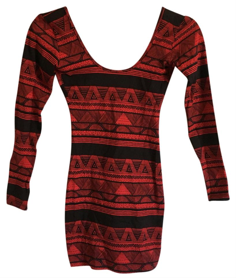 c9695a97592 American Apparel Red Cotton Spandex Jersey Double U Neck Long Sleeve Short Casual  Dress