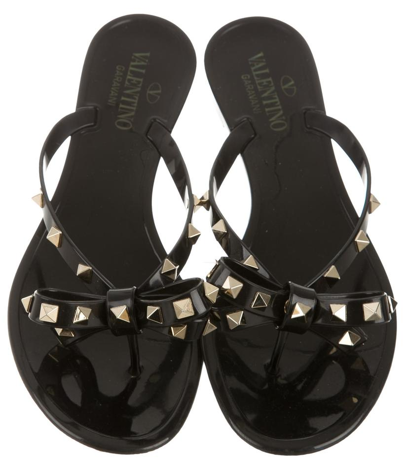 Valentino Black Gold Jelly Bow Sandals Spike Embellished Sandals Bow f33f3e