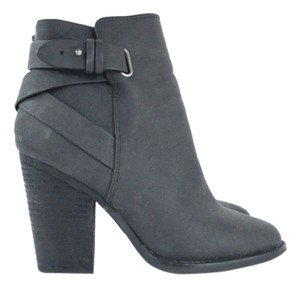 ALDO Gray Leather Stacked Boots