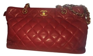 Chanel Vintage Lambskin Lambskin Monogram Chain Shoulder Bag