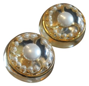 Chanel Vintage Lucite Pearl Gold Tone Earrings 1975