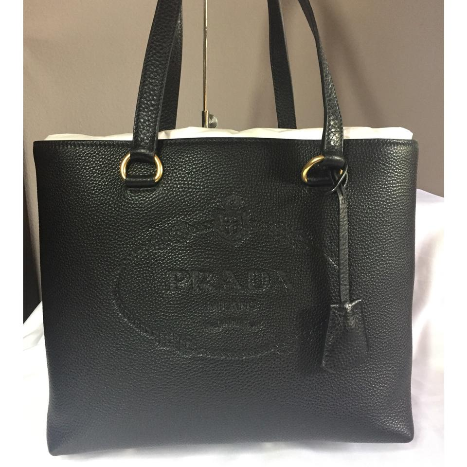 af98e12dd19b Prada Vitello Daino Embossed Black Leather Tote - Tradesy