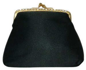 Other Satin Vintage Crystal Frame Evening Black Clutch