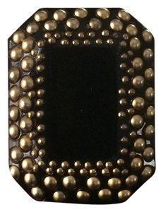 Saint Laurent Black and Gold Studded Cocktail Ring (size 6)