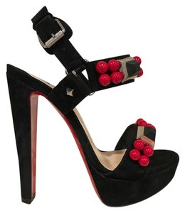 Christian Louboutin Pyrabubble Stiletto Suede Platform Beaded black Pumps