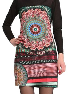Desigual short dress black with colorful pattern on Tradesy
