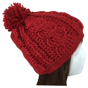 Other Crimson Cabled Beanie w/Pompom