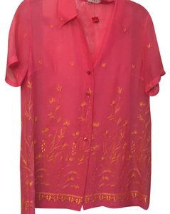Escada Top pink with yellow embroidery