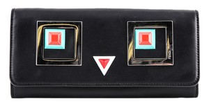 Fendi * Fendi Continental Wallet In Black Leather With Square Eyes Motif