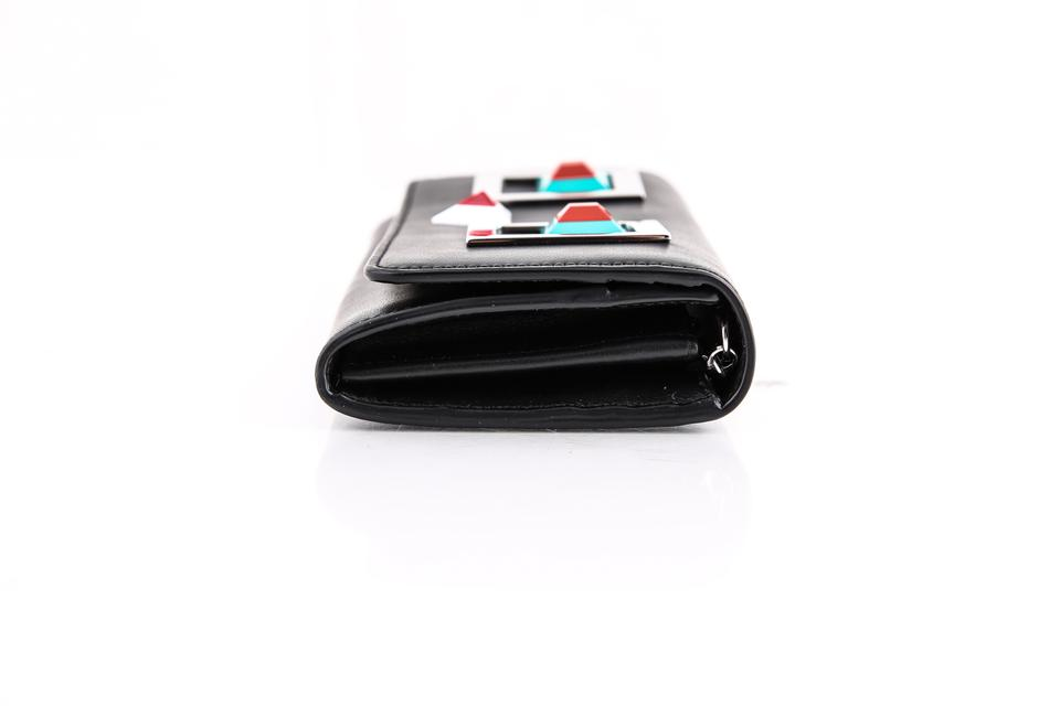 eaaf45711e65 Fendi   Fendi Continental Wallet In Black Leather With Square Eyes Motif  Image 7. 12345678