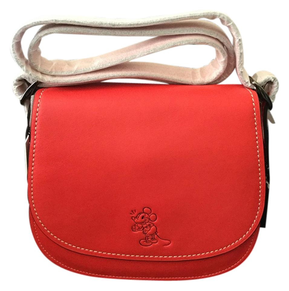 2bfed7f5 Coach Saddle Disney X Mickey Mouse 23 Red. Red Burnished Glovetanned  Leather Satchel 23% off retail
