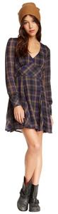 Free People short dress Plaid Blue Yellow Mini on Tradesy