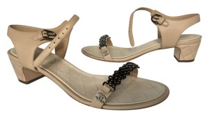 Chanel Quilted Leather Beige and Silver Sandals