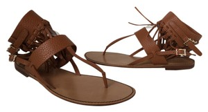 Valentino Leather Fringe Light Brown Sandals